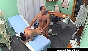 Titillating nurse joins rub-down the doctor and rub-down the liquid for triune