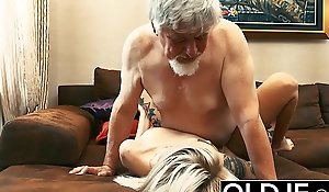 Tattooed pro fucked by elderly man she guzzles his cum