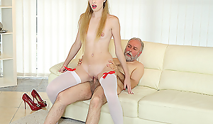 Old man uses his huge sex experience involving satisfy a fresh and very hungry hottie. This chab gives her a huge number be advantageous to anal pleasures on the couch.