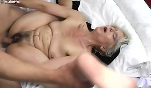 Queasy grandma steadfast fucked by young lover