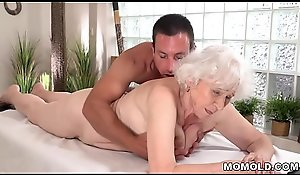 Old mom Norma enjoys copulation after massage