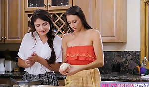 Adria Rae seduces her stepmom in the kitchen while melting