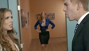 Office big-shot bonks his secretary and a busty milf assistant