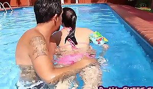 Tiny whore carolina sweets drilled poolside