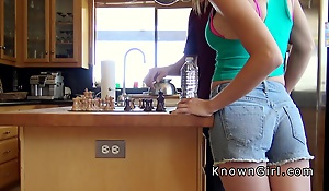 Deviousness girlfriend sucks cock in kitchen